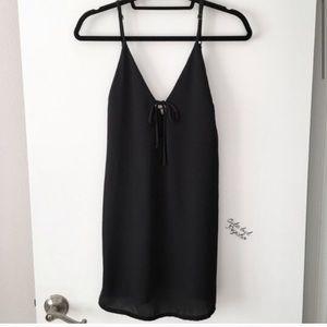 brandy melville satin slip dress with tie front